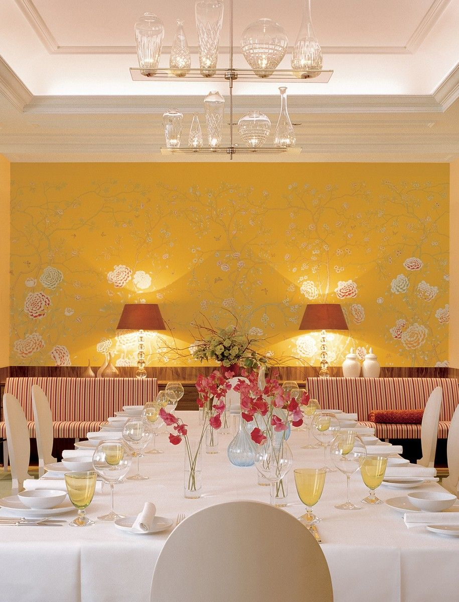 Perdele si tapet De Gournay - Chelsea Yellow Painted Silk