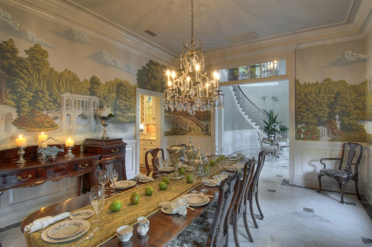 Perdele si tapet De Gournay - English Landscape in Roberts colourway