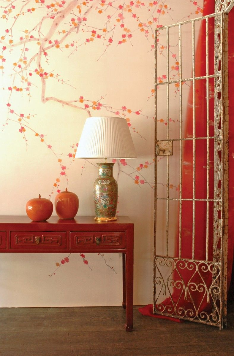 Mobilier De Gournay - Plum Blossom on Bleached Silver Twill